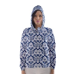 White On Blue Damask Hooded Wind Breaker (Women)
