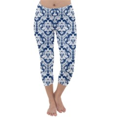 Navy Blue Damask Pattern Capri Winter Leggings
