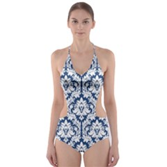 Navy Blue Damask Pattern Cut Out One Piece Swimsuit