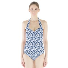 Navy Blue Damask Pattern Women s Halter One Piece Swimsuit