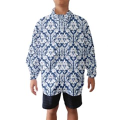 White On Blue Damask Wind Breaker (kids)