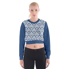 Navy Blue Damask Pattern Women s Cropped Sweatshirt