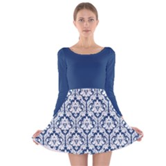 Navy Blue Damask Pattern Long Sleeve Velvet Skater Dress