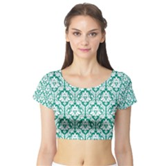 White On Emerald Green Damask Short Sleeve Crop Top (tight Fit)