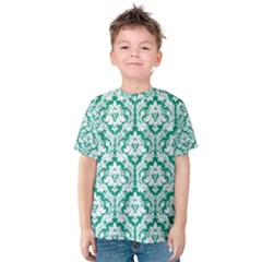 White On Emerald Green Damask Kid s Cotton Tee