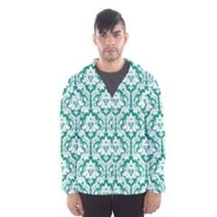 White On Emerald Green Damask Hooded Wind Breaker (men)