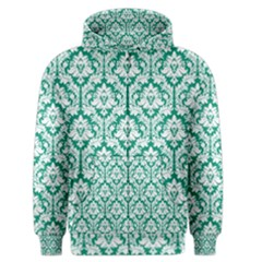 White On Emerald Green Damask Men s Zipper Hoodie