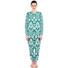 White On Emerald Green Damask Onepiece Jumpsuit (ladies)