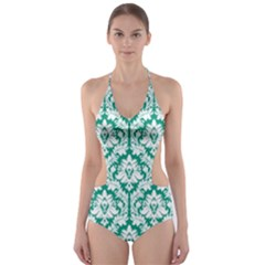 Emerald Green Damask Pattern Cut-Out One Piece Swimsuit