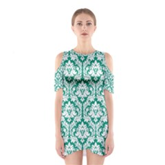 Emerald Green Damask Pattern Women s Cutout Shoulder Dress
