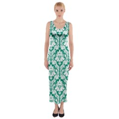 Emerald Green Damask Pattern Fitted Maxi Dress