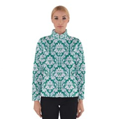 White On Emerald Green Damask Winterwear