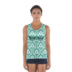 Emerald Green Damask Pattern Women s Sport Tank Top