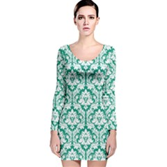Emerald Green Damask Pattern Long Sleeve Velvet Bodycon Dress