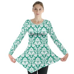 Emerald Green Damask Pattern Long Sleeve Tunic