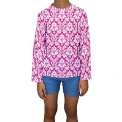 White On Hot Pink Damask Kid s Long Sleeve Swimwear