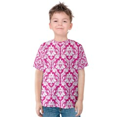 White On Hot Pink Damask Kid s Cotton Tee