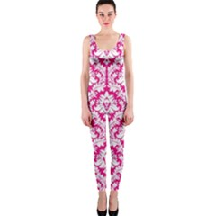 Hot Pink Damask Pattern Onepiece Catsuit