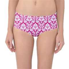 Hot Pink Damask Pattern Mid Waist Bikini Bottoms