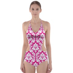 Hot Pink Damask Pattern Cut-Out One Piece Swimsuit