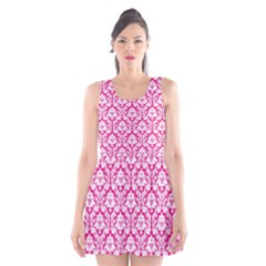 Hot Pink Damask Pattern Scoop Neck Skater Dress
