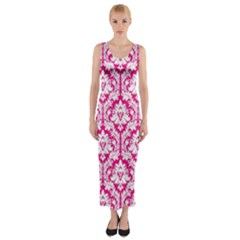 Hot Pink Damask Pattern Fitted Maxi Dress