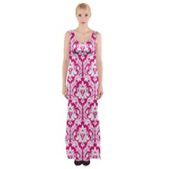 Hot Pink Damask Pattern Maxi Thigh Split Dress