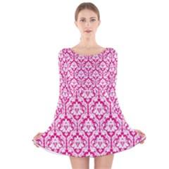 Hot Pink Damask Pattern Long Sleeve Velvet Skater Dress