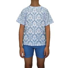 White On Light Blue Damask Kid s Short Sleeve Swimwear