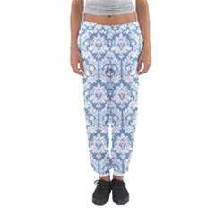 White On Light Blue Damask Women s Jogger Sweatpants