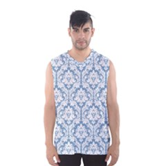 White On Light Blue Damask Men s Basketball Tank Top