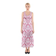 soft Pink Damask Pattern Sleeveless Maxi Dress