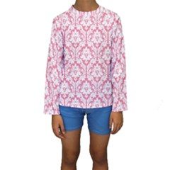 White On Soft Pink Damask Kid s Long Sleeve Swimwear