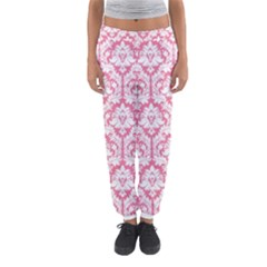 White On Soft Pink Damask Women s Jogger Sweatpants