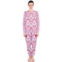 White On Soft Pink Damask Onepiece Jumpsuit (ladies)