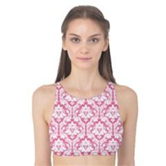 Soft Pink Damask Pattern Tank Bikini Top