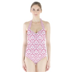 soft Pink Damask Pattern Women s Halter One Piece Swimsuit