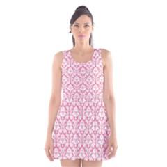 soft Pink Damask Pattern Scoop Neck Skater Dress