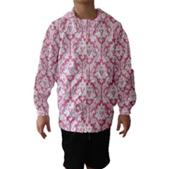 White On Soft Pink Damask Hooded Wind Breaker (kids)