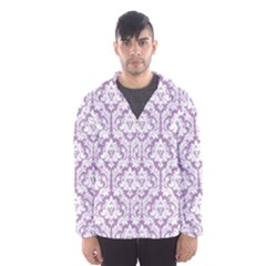 White On Lilac Damask Hooded Wind Breaker (men)