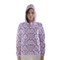 Lilac Damask Pattern Hooded Wind Breaker (Women)
