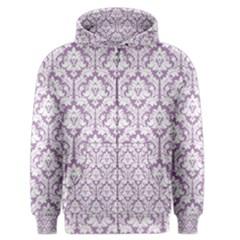 White On Lilac Damask Men s Zipper Hoodie