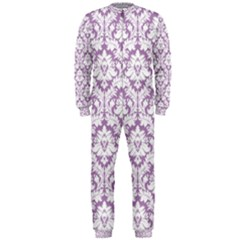 White On Lilac Damask Onepiece Jumpsuit (men)