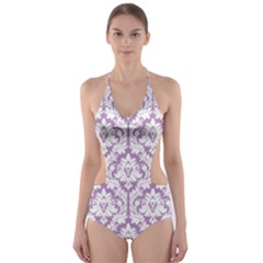 Lilac Damask Pattern Cut-Out One Piece Swimsuit