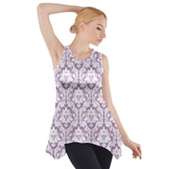Lilac Damask Pattern Side Drop Tank Tunic