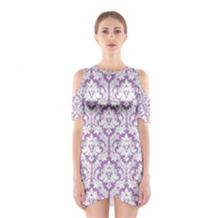 Lilac Damask Pattern Women s Cutout Shoulder Dress