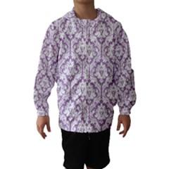 White On Lilac Damask Hooded Wind Breaker (Kids)