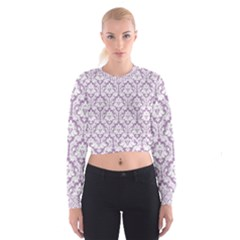 Lilac Damask Pattern Women s Cropped Sweatshirt