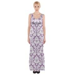 Lilac Damask Pattern Maxi Thigh Split Dress