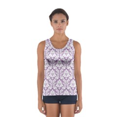 Lilac Damask Pattern Women s Sport Tank Top